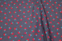 Koksgrå, vævet bomuld med små jordbær