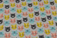 Lys gråmeleret, let joggingstof med kattehoveder