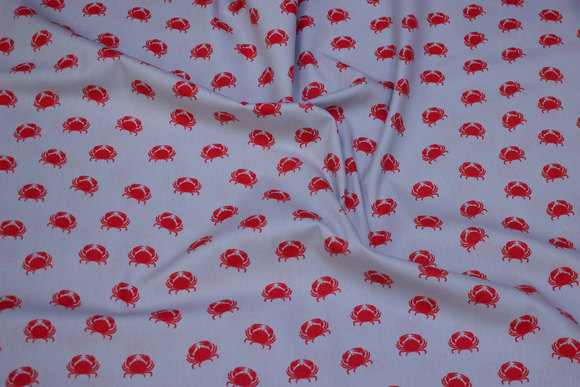 Lysegrå, vævet bomuld med 25 mm røde krabber