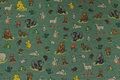 Meleret støvgrøn jersey med små skovdyr.