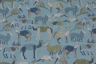 Mintgrøn Gots økologisk, vævet bomuld med dyr