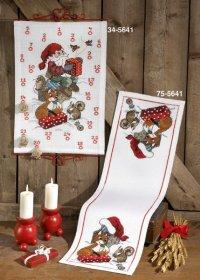 Pakkekalender  med Julemand og dyr. Permin 34-5641.