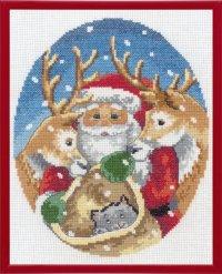 Julebillede med Julemand med rensdyr. Permin 92-1262.