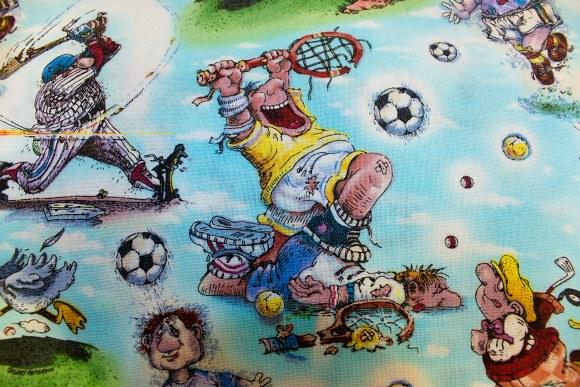 Turkis bomuld med sjove sportsgrene
