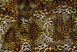 Viscosejersey med dyretryk i gyldne farver