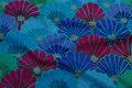 Jade, blå, violet patchwork-bomuld med vifter