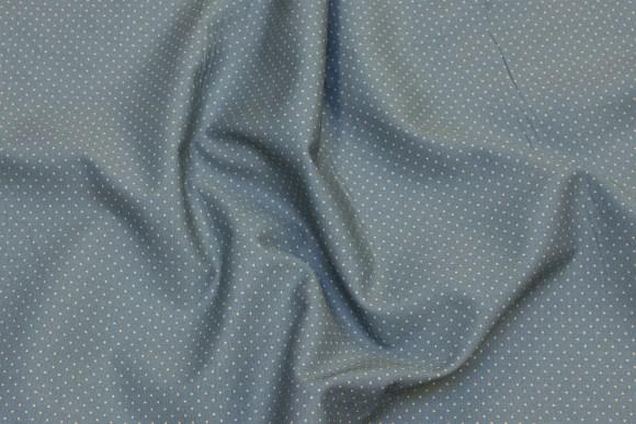 Dueblå og beige bomuld med miniprikker