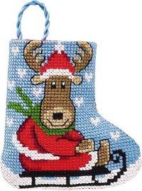 Elg og kælk julestrømpe. Permin 01-9213.