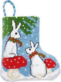 Kaniner julestrømpe. Permin 01-9218.