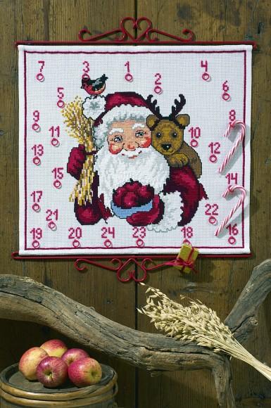 Hvid pakkekalender med Julemand og rensdyr