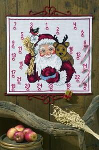 Hvid pakkekalender med Julemand og rensdyr. Permin 34-0264.
