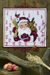 Permin 34-0264. Hvid pakkekalender med Julemand og rensdyr.