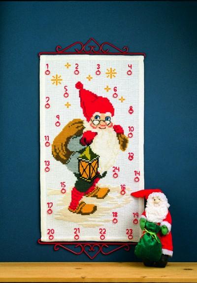 Pakkekalender med Julemanden med sæk og lygte