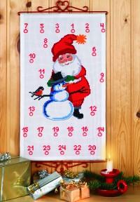 Pakkekalender med Julemanden og snemand. Permin 34-8204.
