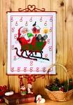 Permin 34-8205. Hvid pakkekalender med Julemanden i kane.