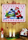 Permin 34-8206. Pakkekalender med Julemanden og snemand i kærre.