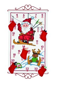 Hvid pakkekalender med Julemanden i skiflift. Permin 34-9522.