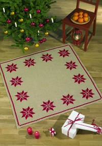 Juletræstæppe med stilfuldt rektangulært julestjernemønster. Permin 45-0230.