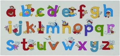 Fødselsbarnsbroderi med bogstaver og dyr