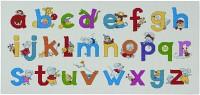 Fødselsbarnsbroderi med bogstaver og dyr. Permin 90-0397.