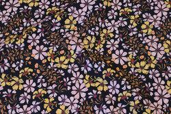Blød, sort bomuld med rosa og gule blomster