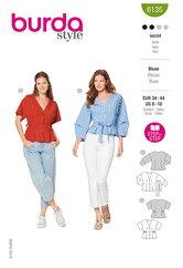 Skjortebluser med knapper eller bindelukning. Burda 6135.
