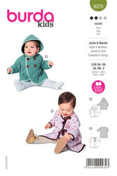 Baby hættejakke, frakke med binding. Burda 9270.