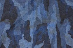 Camouflage joggingstof i støvblå nuancer