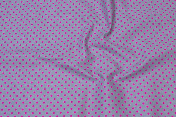 Grå bomuld med 5 mm pink prikker