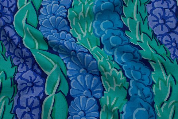 Jade, turkis lilla patchwork-bomuld med ranker