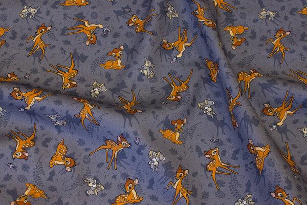 Let bomuld i grå med Bambi og Stampe