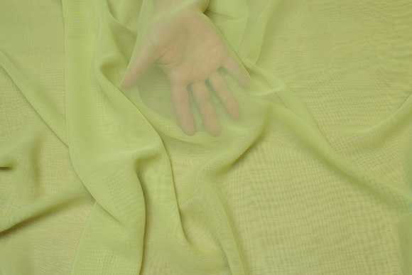 Limegrøn chiffon, let transparent