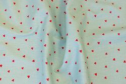 Lys mintgrøn bomuld med røde mini-hjerter