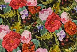 Mellemsvær bomuld med roser i digitaltryk