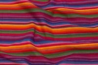 Mellemsvær grovtrådet bomuld med multifarvede striber
