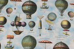 Mellemsvær, himmelblå bomuld med luftballoner