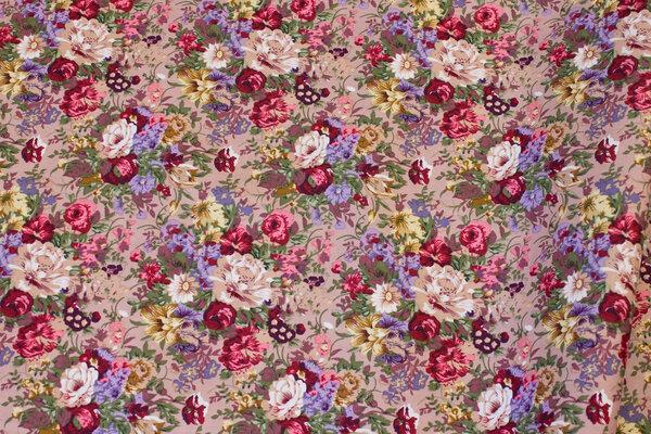 Nougat-farvet bomuld med roser