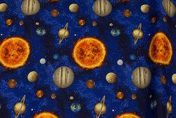 Patchwork bomuld med planeter