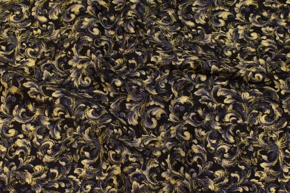 Patchwork-bomuld i sort/guld/grå