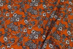 Rustfarvet bluseviscose med blomster
