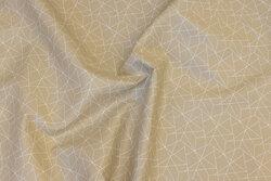 Sandfarvet bomuld med hvidt stregmønster