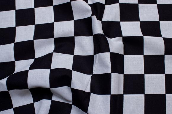 Skakternet bomuld, sort og hvid, tern 4 cm