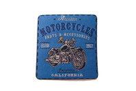 Strygemærke motorcykel blå 6x6cm