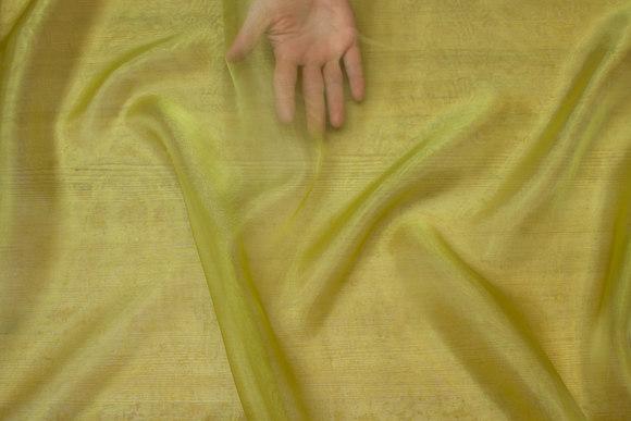 Transparent grøn-gul organza