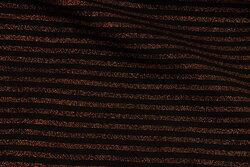 Tværstribet ribstof i sort og kobber
