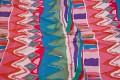 Rød-pink-blå-grøn bomuldssatin i mellemsvær kvalitet