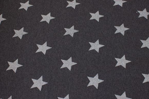 Koksgrå vinter-isoli med 4 cm sølvstjerner