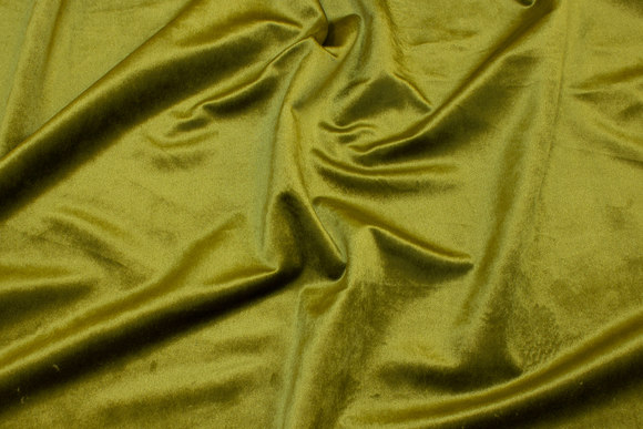 Flot olivengrøn Rokoko-velour med let skinnende overflade