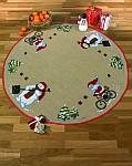 Juletræstæppe med cyklende nisse