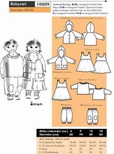 Babysæt med hættetrøje, spencer og bukser. Onion 10009.